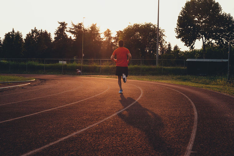 Athletics Guy Man Running Running Late Sport Sports Sunset The Color Of Sport Trees Walkway