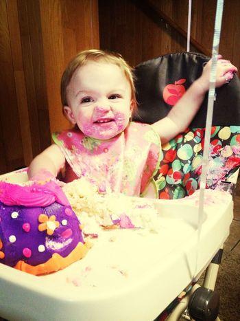 My precious niece Lila's 1st birthday! Dig in girl!