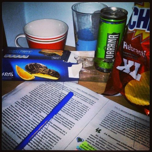 Studing Nightbeforeexam Guarana Jaffa chipsy coffie help