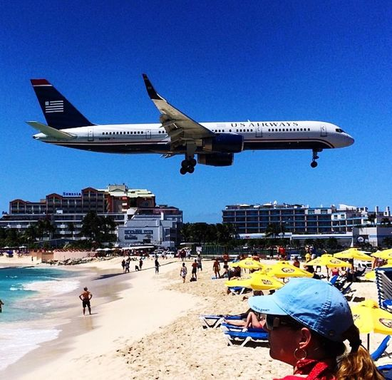 Flight Pattern St Maarten Blue Day Beach Large Group Of People Men Real People Sand Airplane Flying Adult Clear Sky People Vacations Lifestyles
