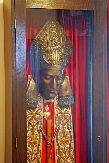 Beatified Cardinal Alojzije Stepinac,Krasic sanctuary,his death mask,Croatia,Europe,11 Alojzije Cardinal Stepinac Catholicism Christianity Croatia Europe Krasic Stepinac Stepincevo Beatified Close-up Culture Death Mask Gold Colored History Human Representation Indoors  Inmemoriam Memorial Museum No People Place Of Worship Religion Sanctuary  Spirituality
