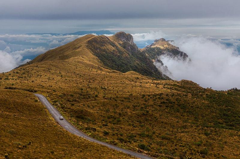Nevado del ruiz volcano with a car on the road