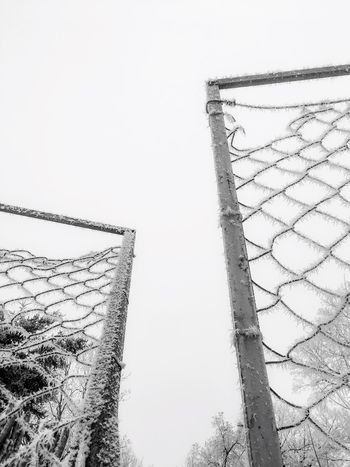 Low Angle View Day No People Clear Sky Sky Outdoors Cold Temperature Snow Gate Fance Snow ❄ Frost Frosty Blackandwhite Black And White White