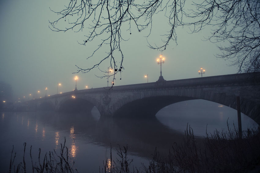 Bridge Bridge - Man Made Structure Fog Foggy Day Foggy Evening Gloomy Gloomy Weather Illuminated Kew Bridge London Outdoors Reflection River Street Light Thames Thames River Water