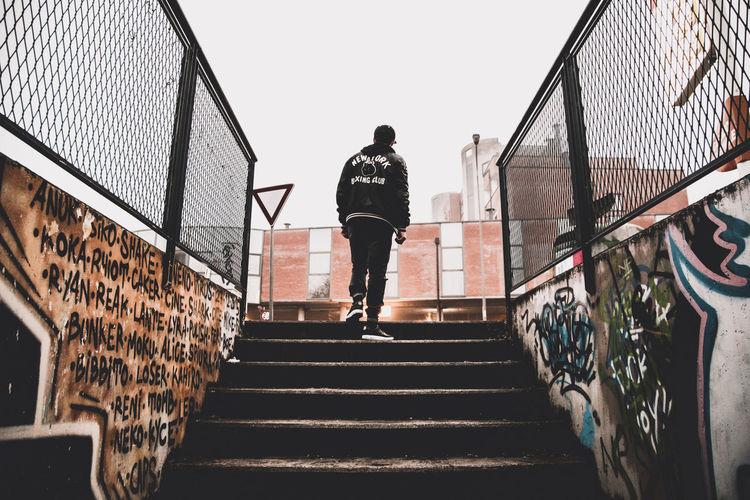 City City Life Graffiti Day Fujifilm Full Length Lifestyles Low Angle View Men Outdoors Staircase Steps Street Streetart Streetstyle Urban Walking