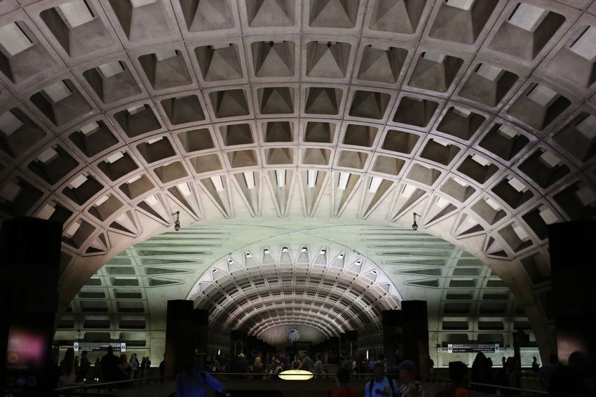 Concrete Underground Station  Washington Metro Washington, D. C. Metro Subway Station Subway Architecture Built Structure Indoors  Group Of People Travel Real People Travel Destinations Arch Transportation