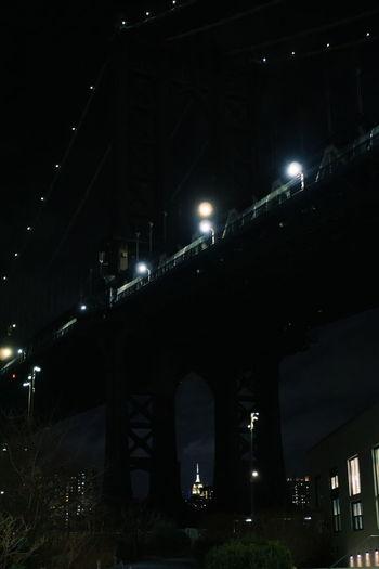 dumbo Night Photography Night Lights NYC Night Downtown City Manhattan Brooklyn Bridge - Man Made Structure International Landmark Empire State Building Skyscraper Nightphotography Lights Bridges Tall - High Architecture Arch Column Dark darkness and light Illuminated Street Light