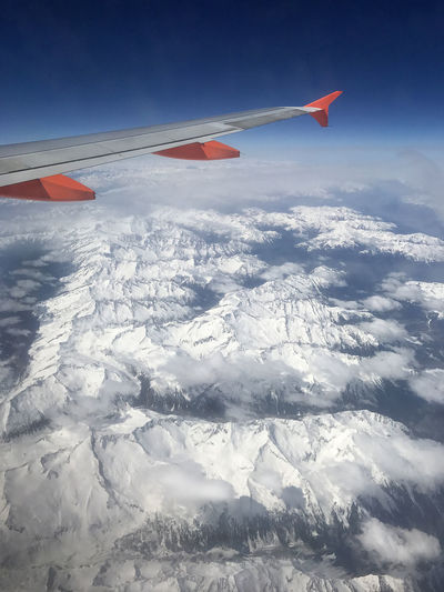 Above The Clouds Aboveandbeyond Aerial View Airplane Airplane Wing Airplaneview Beauty In Nature Blue Sky Clouds Day Flying Landscape Mid-air Mountain Mountains Nature No People Out Of The Window Outdoors Sky Sky And Clouds Snow Snow On The Mountain Snowy Mountains