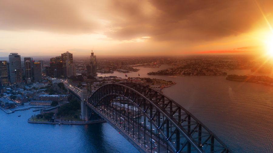 Majestic sunset over the harbor bridge in sydney,  australia.