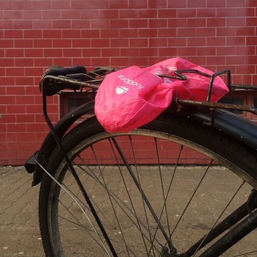 Pink 6/x Pink Pink Color All Things Pink KTV Rostock Brick Wall Bicycle Transportation Land Vehicle No People Stationary Wall