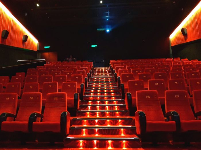 Interior of empty seats in theater