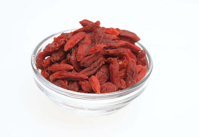 Goji berries, a fruit berry and medicinal plant Bowl Close-up Dried Food Dried Fruit Food Freshness Fruit Fruits Goji Gojiberries Gojiberry Healthy Eating Medicinal Plant Nature No People Red Studio Shot White Background