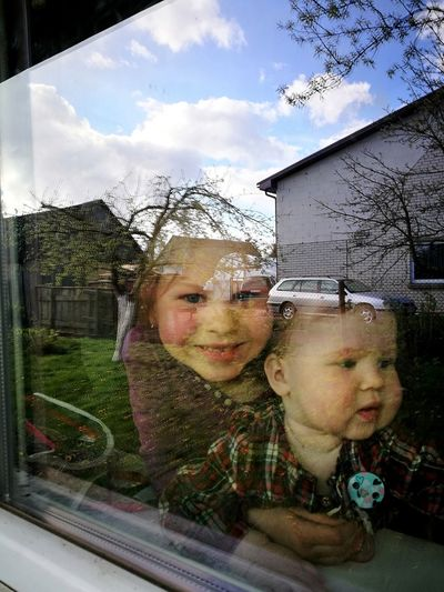 Togetherness Childhood Cute Real People Day Girls People Children Only Sisters <3 Sisterly Love Window Outdoors