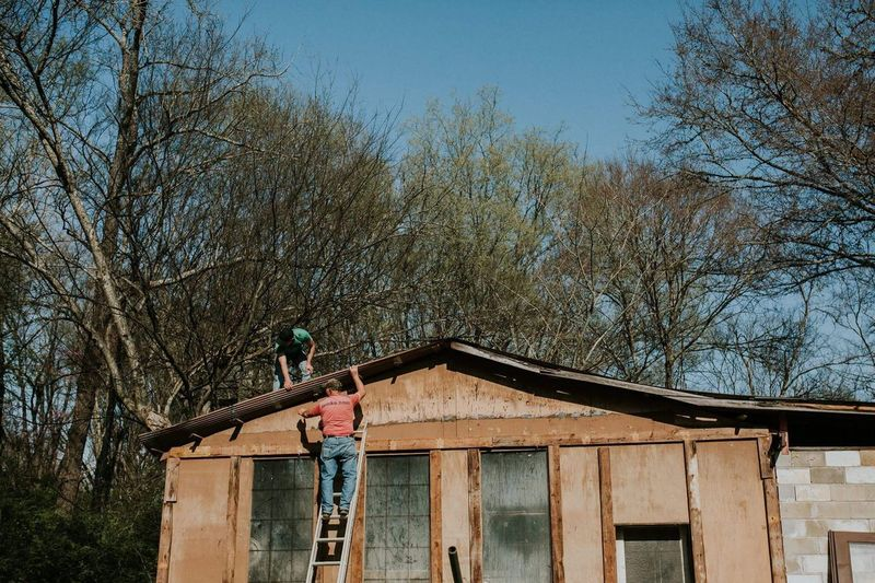 Helping papaw. One Person Low Angle View Tree Standing Leisure Activity Real People Bare Tree Day Full Length Sky Outdoors Nature People Human Body Part Adults Only One Man Only Adult