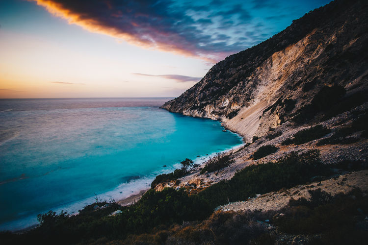 Myrtos Beach Beach Beauty In Nature Blue Coast Idyllic Myrtos Nature No People Rock Sea Sky Summer Sunset Water