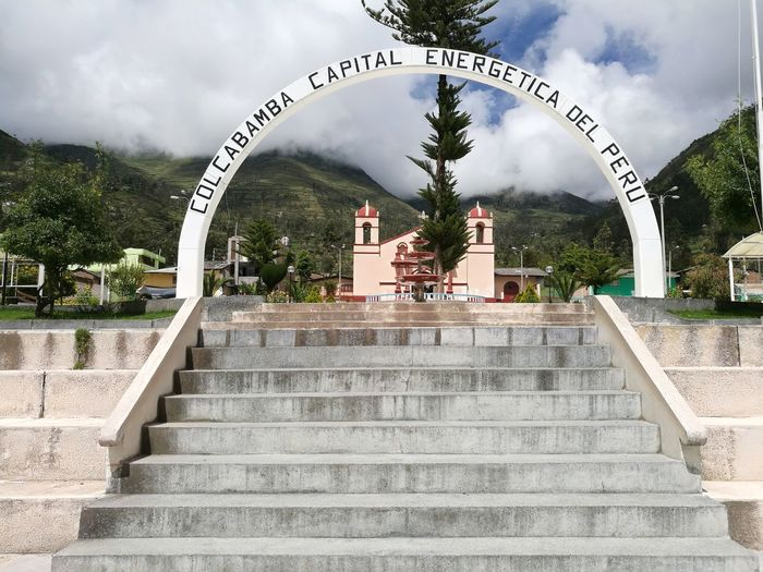 Colcabamba's main Square Peru Small Town Town Andes Andes Mountains Main Square Church Religious Town Huancavelica Colcabamba City Steps And Staircases Steps Staircase Sky Historic Arch Archway Colonnade