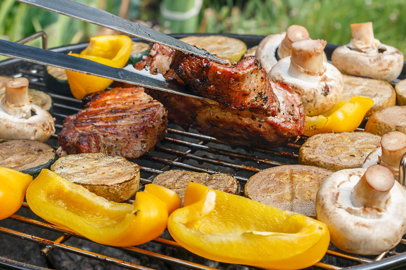 High angle view of food on barbecue grill