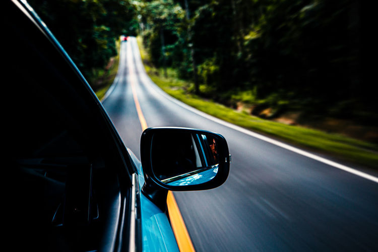 View of highway seen through car