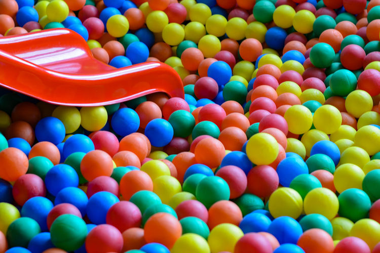 High angle view of slide in ball pool