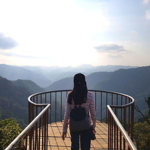 Mountain Young Women Women Full Length Standing Fog Rear View Railing Climbing Sky