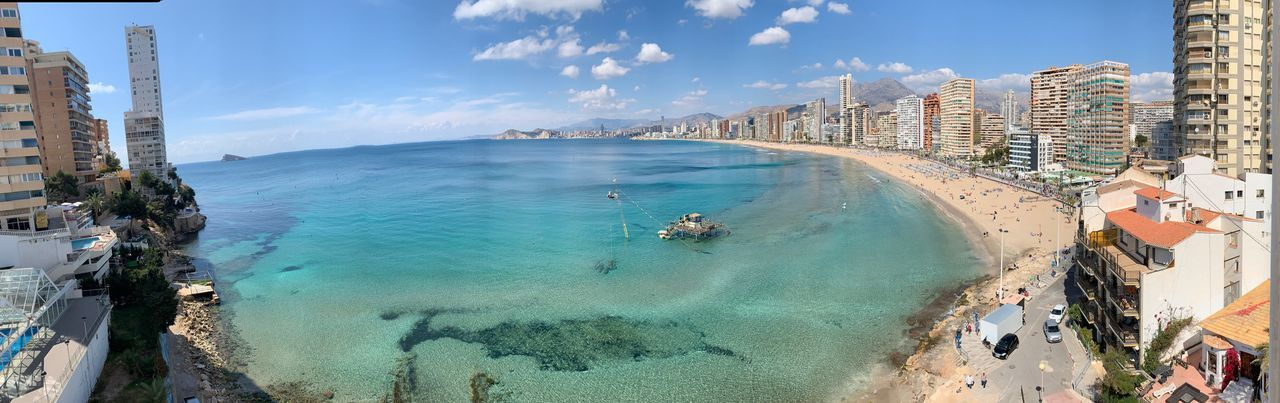 Benidorn Benidorm SPAIN Sea View Hotel Nadal Water Sea Sky Beach Architecture Nature Building Exterior Land Built Structure Beauty In Nature Day High Angle View Travel Coastline Sand Panoramic Cloud - Sky City Scenics - Nature Outdoors