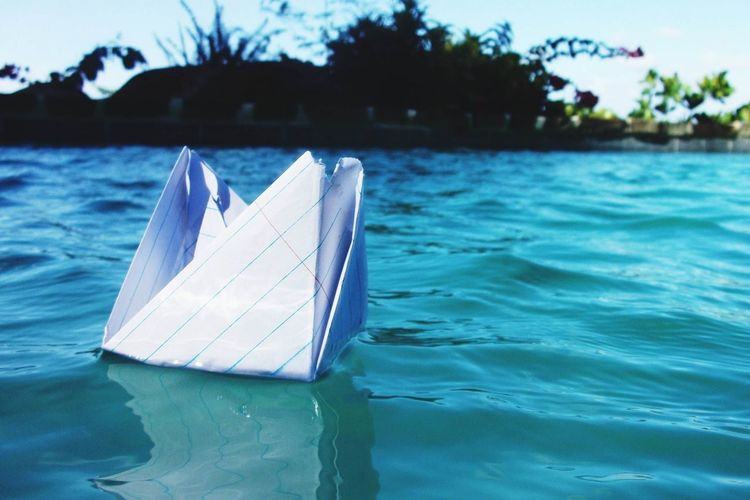 Art Art, Drawing, Creativity ArtWork Day Escapism Floating On Water Frozen Macro Beauty Nature Nautical Vessel No People Outdoors Paper Paper View Reflection Rippled River Sailboat Sailing Summer Vacation Vacations Water Waterfront Landscapes With WhiteWall