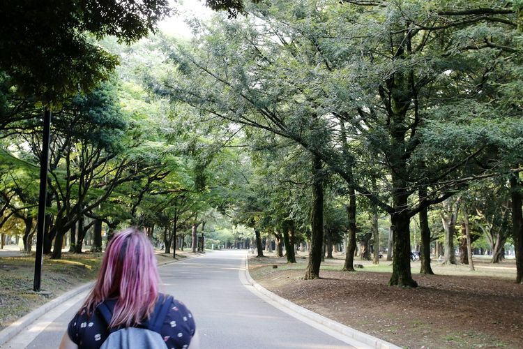 Rear view of woman walking on road along trees