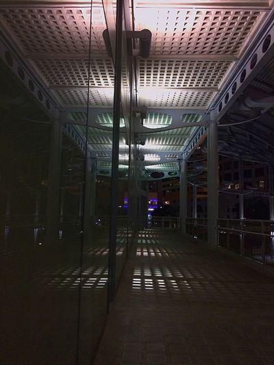 Vanishing Point Reflection Night Transit Station Architecture Glass