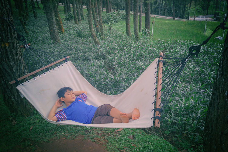 View Of Boy Relaxing In Hammock