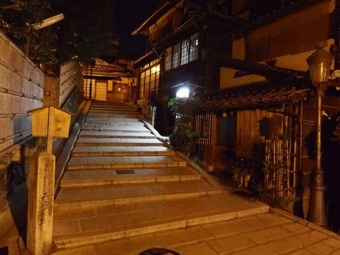 Kyoto Japan Kiyomizumichi Ninenzaka Stairs Night Japanese Style Olympus PEN-F 京都 日本 二年坂 二寧坂 階段 夜