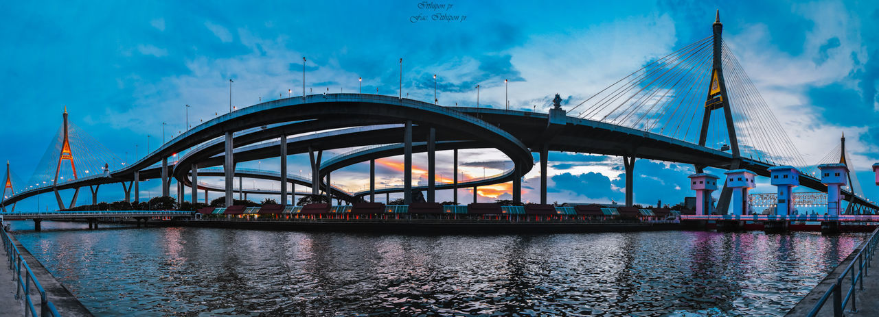 Water Architecture Connection Bridge Transportation Sky Bridge - Man Made Structure Built Structure Building Exterior City River Cloud - Sky Nature Travel Destinations Engineering Travel Panoramic Modern Outdoors Cityscape Office Building Exterior Skyscraper Bay