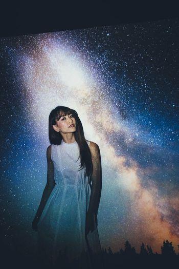 Galaxy Imagination Beautiful Woman Conceptual Exploration Night Sky Water
