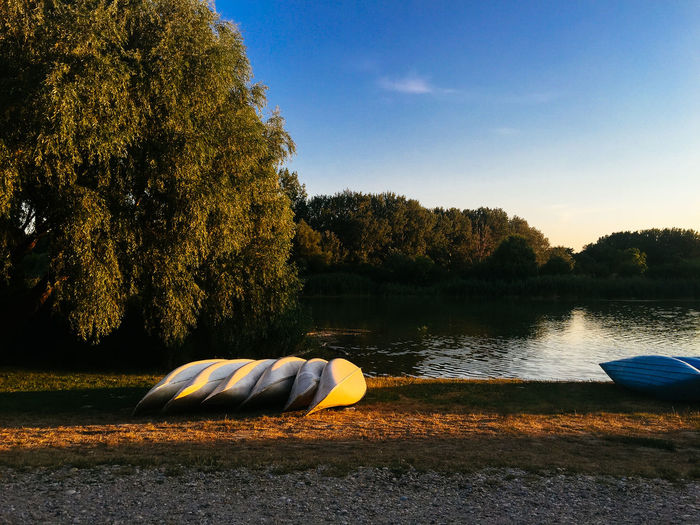 Kayaking Beauty In Nature Blue Boat Canoe Countryside Day Hobbies Kayak Lake Lakeshore Lakeside Nature Non-urban Scene Outdoors Riverbank Scenics Sky Sunset_collection Surface Level Tourism Tranquil Scene Tranquility Tree Warm Colors Water