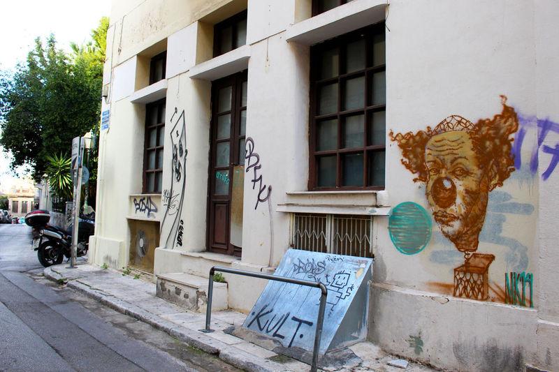 Art Athens Athens, Greece Building Exterior City Clown Creativity Graffiti No People Plaka Plaka, Athens Sad Sadclown Street Street Art Streetart Streetart/graffiti Streetphotography