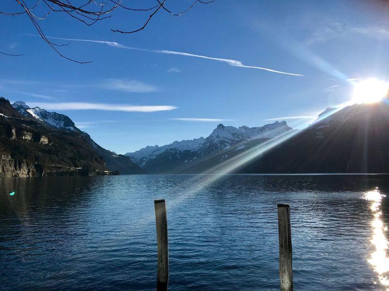 Zug Lake Mountain Beauty In Nature Nature Water Scenics Sunbeam Sunlight Lake