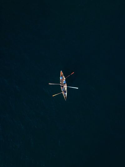 Aerial view of people on boat in lake
