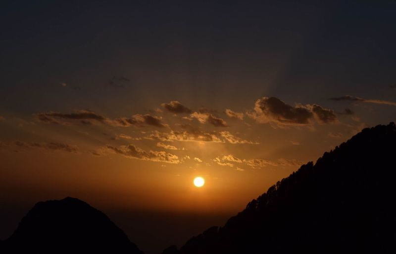 Sunset at Triund Beauty In Nature Cloud - Sky Nature No People Outdoors Scenics Silhouette Sky Sun Sunset Tranquil Scene Tranquility