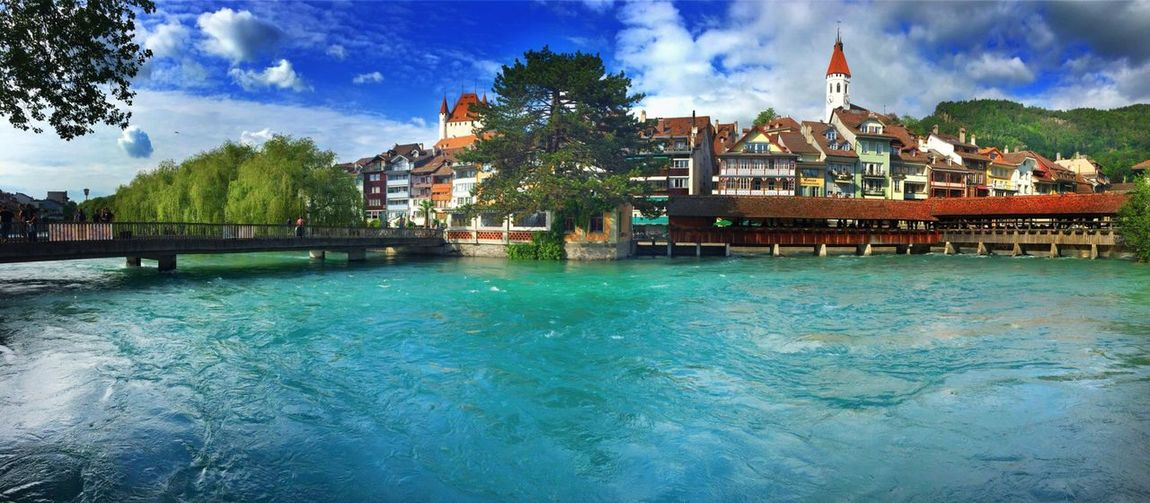Blue Wave Green Summer Bridge Check This Out City Town River Blue Sky Blue Switzerland Thegreatoutdoorswithadobe
