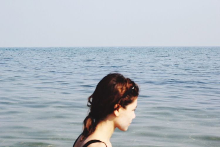 She's out of focus Clear Sky Sea Horizon Over Water One Person Nature Outdoors