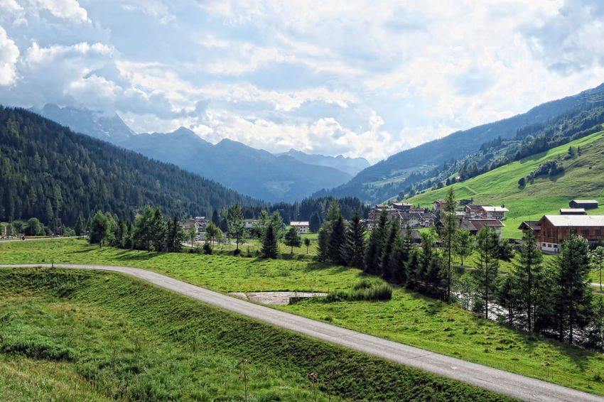 village scape of Gerlos in Zillertal, Austria Alps Day European Alps Forest Gerlos Gerlospass Grass Green Color Hiking Landscape Mountain Mountain Range Nature No People Outdoors Scenics Sky Zillertal Zillertal Alps