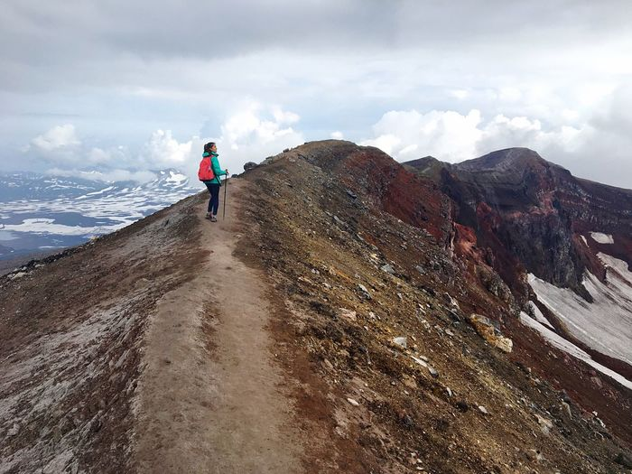 Nature Mountain Peak Silent Moment Above The Clouds Mountain Landscape Outdoors Beauty In Nature Sky Blue Snow Adventure Kamakura Russian Nature Running Girl One Person Backpacking Trecking Hiking Climbing Go Higher