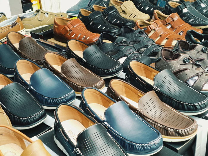 Shoe Market Market Stall Marketplace Shop Sunlight Summer Summertime Shoes Sun Choice Retail  High Angle View Full Frame Flea Market Street Market Bazaar Vendor Market Vendor Price Tag Footwear Shoelace For Sale Display Retail Display Arrangement Various Stall Pair
