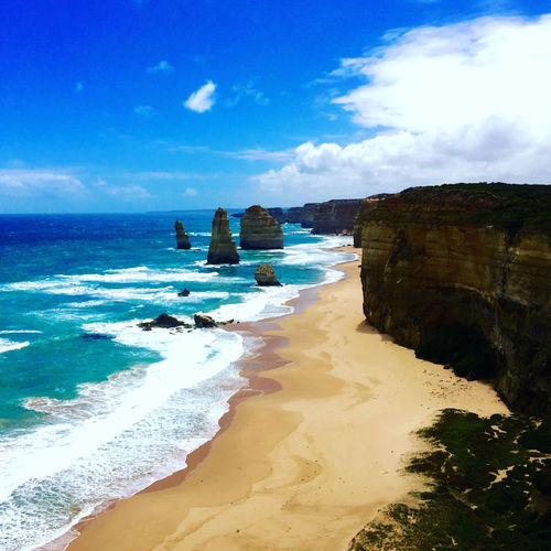 The 12 Apostles at Port Campbell National Park, Great Ocean Road 12 Apostles Australia Beach Beauty In Nature Blue Day Great Ocean Road Horizon Over Water Idyllic Nature No People Outdoors Sand Scenics Sea Sky Tranquil Scene Tranquility Twelve Apostles Twelveapostles Water Wave EyeEmNewHere