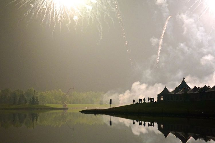 Long Weekend Fireworks Arts Culture And Entertainment Celebration Chaos Cloud - Sky Day Exploding Firework Display Fireworks Flare Lake Nature Night No People Outdoors Reflection Scenics Silhouette Sky Smoke Water