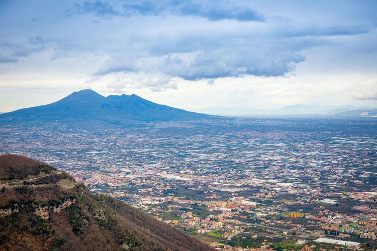 Pompeii  Italy Vesuvio Volcano Panorama Landscape City Mountain Nature Cloud - Sky Sky Scenics - Nature Environment Beauty In Nature Tranquil Scene Tranquility No People Day Land Mountain Range Outdoors Aerial View Idyllic Plant Cityscape Mountain Peak