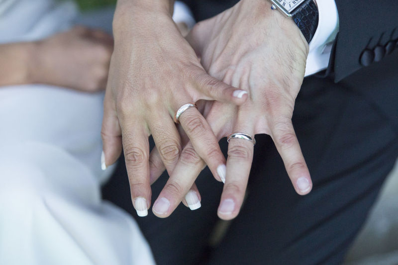 Cropped image of bride and groom showing wedding rings