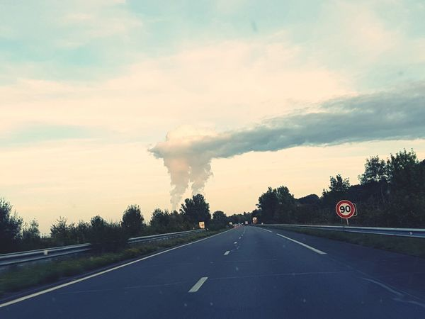 Nuclear land Road Nuclear Nhfm Sky Sadness No Breathe Nuclear Power Plant Road The Way Forward Transportation Car Journey Cloud - Sky Road Sign No People Driving Sunset Day Outdoors Nature