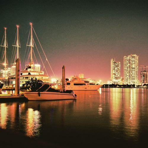 Water Night Photography Florida Life Miami Skyline