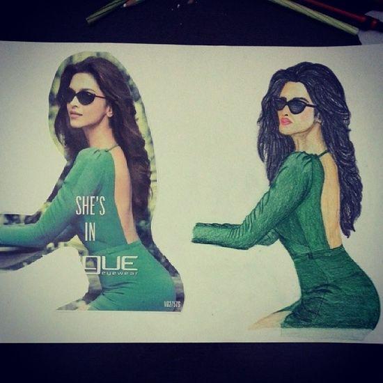 Selfmadedrawing Deepika Hotchic Green poseshadesvoguevisualstudiescolorloveher????