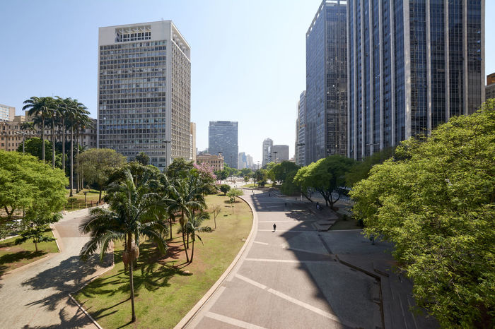 Anhangabau valley at Sao Paulo city. Square, garden and buildings in downtown of Sao Paulo. Brazil. Anhangabau Valley Brazil Business Cityscape Office Sao Paulo - Brazil São Paulo Travel Tree Anhangabau Building Garden Landmark Office Building Park Skyscraper Travel Destinations Valley